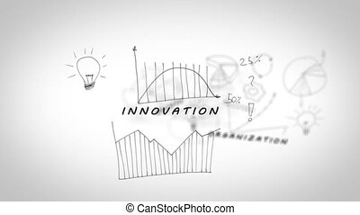Drawings with charts showing business terms on white background