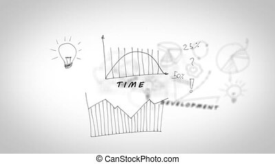 Drawings with charts showing teamwork terms on white background