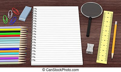 Drawing/writing tools and blank notepad, on wooden desk
