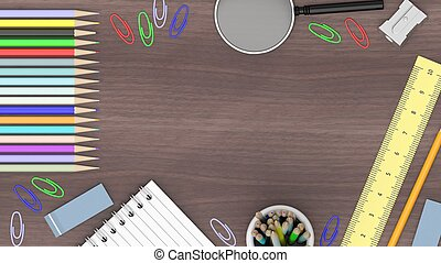Drawing/writing tools, on wooden background