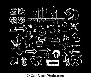 Drawn arrows on black chalkboard background. Vector
