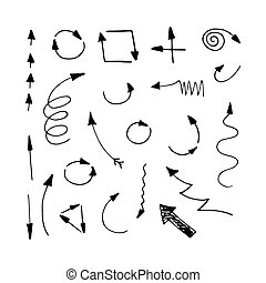 Drawn arrows set isolated on white background. Vector arrows