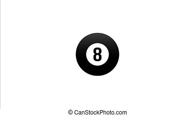 drawn billiard ball at number eight flies directly to the center of the screen.