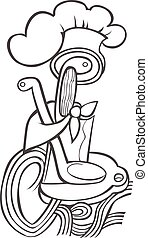 Drawn black hat chef cook on white background in style of engravings.