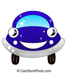 drawn blue car on a white background