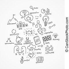 Drawn business symbols