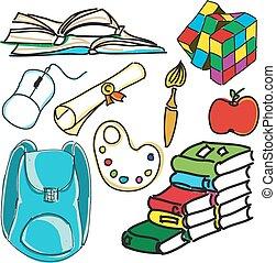 Drawn colored school bag