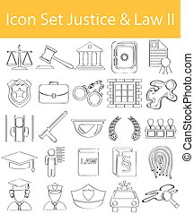 Drawn Doodle Lined Icon Set Justice & Law II