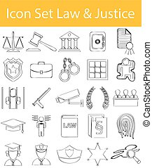 Drawn Doodle Lined Icon Set Law and Justice