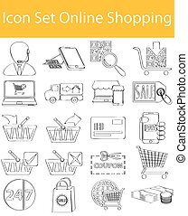 Drawn Doodle Lined Icon Set Online Shopping