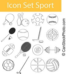 Drawn Doodle Lined Icon Set Sport
