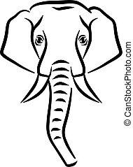 Drawn Elephant head