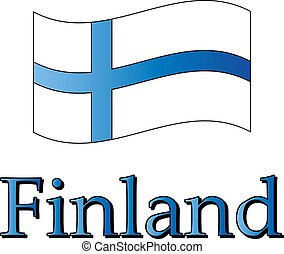 Drawn flag of Finland and lettering Finland, vector illustration
