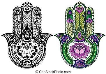Drawn hamsa symbol - Vector Indian hand drawn hamsa symbol