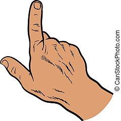 Drawn hands. Finger touches. Raised finger