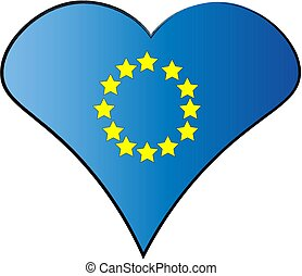 Drawn heart shaped EU flag, vector illustration