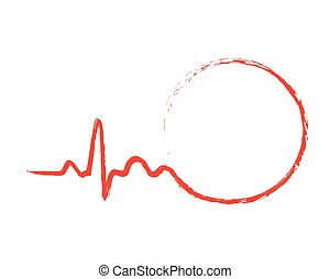 Drawn heartbeat icon with circle. Vector illustration. - Red...