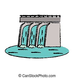 drawn hydroelectric station plant water dam vector...