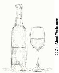 vine - drawn illustration of vine bottle and glass