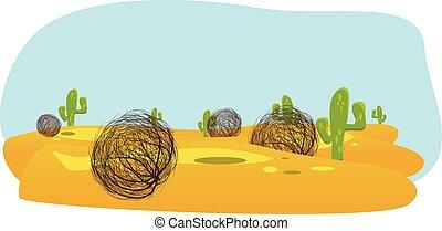 drawn landscape form cactus tumbleweed desert.