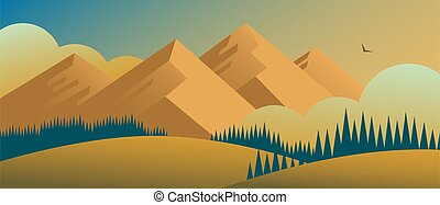 Drawn landscape with forests and mountains against the backdrop of the sunset.