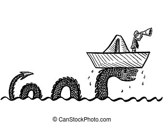 Drawn Man In Boat Lifted Up By Giant Sea Serpent - Freehand ...
