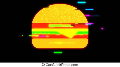 drawn marker pixel burger glitch cartoon handmade animation seamless loop lcd screen background. New quality universal vintage stop motion dynamic animated colorful joyful cool video footage