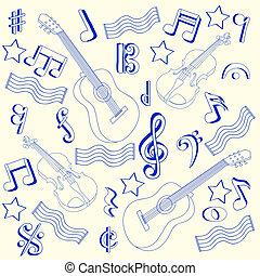 Drawn Music Notes Icon Set