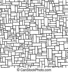 (drawn, parete, seamless, ink)., fondo, mattone
