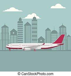 drawn passenger plane, background is city architecture.