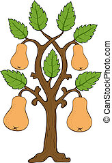 drawn pears with leaves on the tree