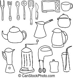 Drawn Kitchen Stuff On White Background Close Up View Vector