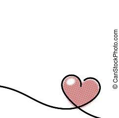 Drawn pop art red heart shape line.