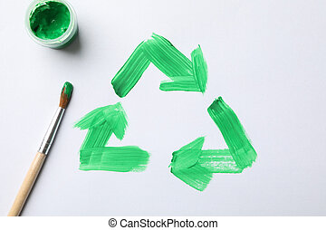 Drawn recycling sign on white background, top view