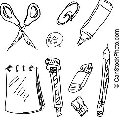 Drawn stationery on white. Vector illustration