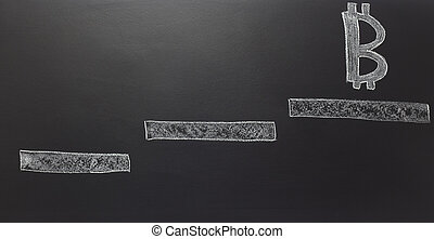 drawn steps with bitcoin symbol on blackboard.