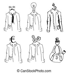 Drawn suits on white. Vector illustration