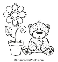 Drawn Teddy bear with flower