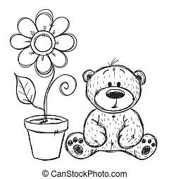 Drawn Teddy bear with flower