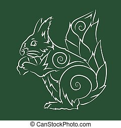 Drawn tribal art with white squirrel silhouette