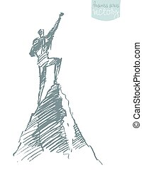 Drawn vector silhouette man top hill winner sketch
