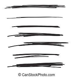 drawn., vettore, set, mano