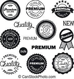 Drawn vintage badges - Set of hand-drawn vintage premium...