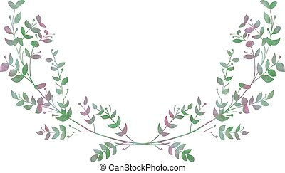 Drawn Watercolor Greenery Laurels Vector Illustration