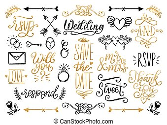 Drawn wedding set of laurels, rings, flowers, hearts etc. Vector handwritten phrases collection Save The Date, RSVP, Love