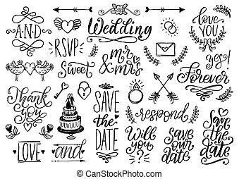 Drawn wedding set of laurels, rings, flowers, hearts etc. Vector handwritten phrases collection Save The Date, RSVP.