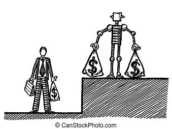 Drawn White Collar Worker Earning Less Than Robot