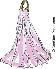 Drawn woman in pink dress