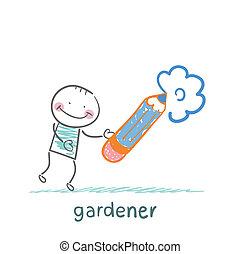 draws a flower gardener