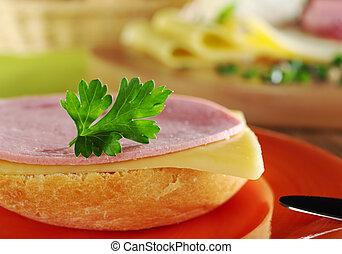 drdol, sýr, krajíc, maso, deska, řezy, čelo, hlava, součást, ohnisko, petržel, pomeranč, ohnisko, sendvič, grafické pozadí, (selective, studený, nůž, nechráněný